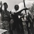 Die Bafanas, Pietermaritzburg cultural group ,perform from a truck outside Jan Smuts cricket stadium demonstrating against rebel English tour 1990 (photo - Rafs Mayet)