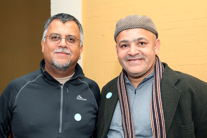 Against the Grain - Ciraj Rassool and friend, ISANG14 August 2013 (photo: C.Beyer Copyright Iziko Museums)