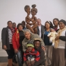 Against the Grain - The Makeleni clan (and curator) surround his work, Together Forever, ISANG, 14 August 2013 (photo: J. Erasmus)