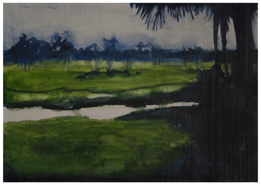 British Guiana coastal landscape (Still), 2013. Watercolour and pencil on paper, A3 (photo courtesy the artist)