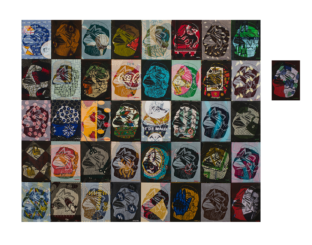 Mother Tongue, 2014. Linoprint on fabric, 41 pieces, 29 x 40 cm each. Coll: Sainsbury Africa Galleries, British Museum (photo courtesy the artist)