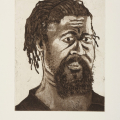 The Poet - self portrait, 2006. Aquatint burnishing and drypoint etching, 25 x 20 cm