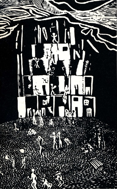Rise and Destruction of Power, 1981. Linocut print (Source: Younge , G. Art of the South African Townships)