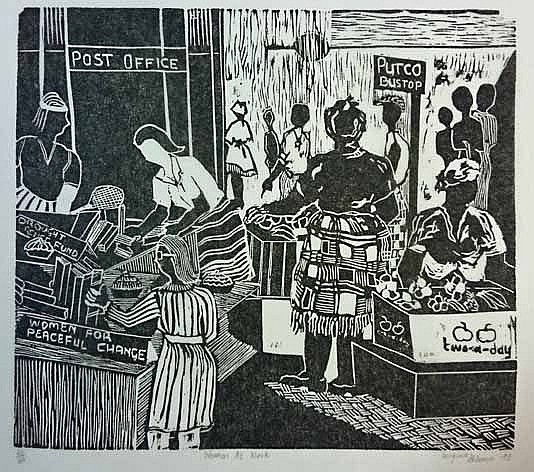 Woman at work, 1983. Linocut print , 48 x 47 cm (Source: Bjork, C. Art/images in Southern Africa )