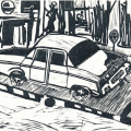 The State of the 80s: Car bomb (triptych detail), 1988 - 89. Linocut print, 23 x 27cm