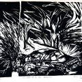 The State of the 80s: Explosion (triptych detail), 1988 - 89. Linocut print, 23 x 27cm