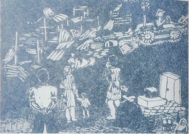Removals. Linocut print (Source: Manaka, M. Echoes of African Art)