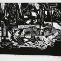 The State of the 80s: All I could think of was my car (triptych detail), 1988 - 89. Linocut print, 23 x 27cm