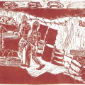 The state of the 80s - Roadblock, 1988. Linocut print, 80 x 50 cm (Source: Williamson, S. Resistance Art in South Africa)