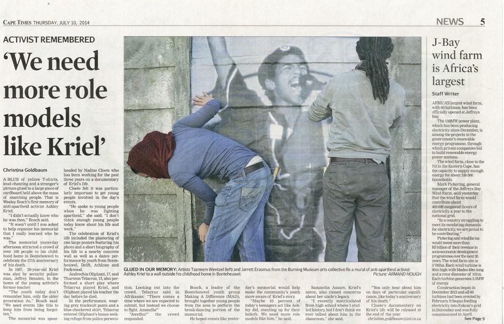 Cape Times, News 10 July 2014