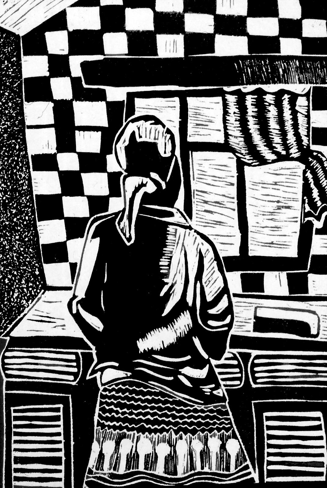David Hlongwane.Domestic Worker, 1986. Linocut