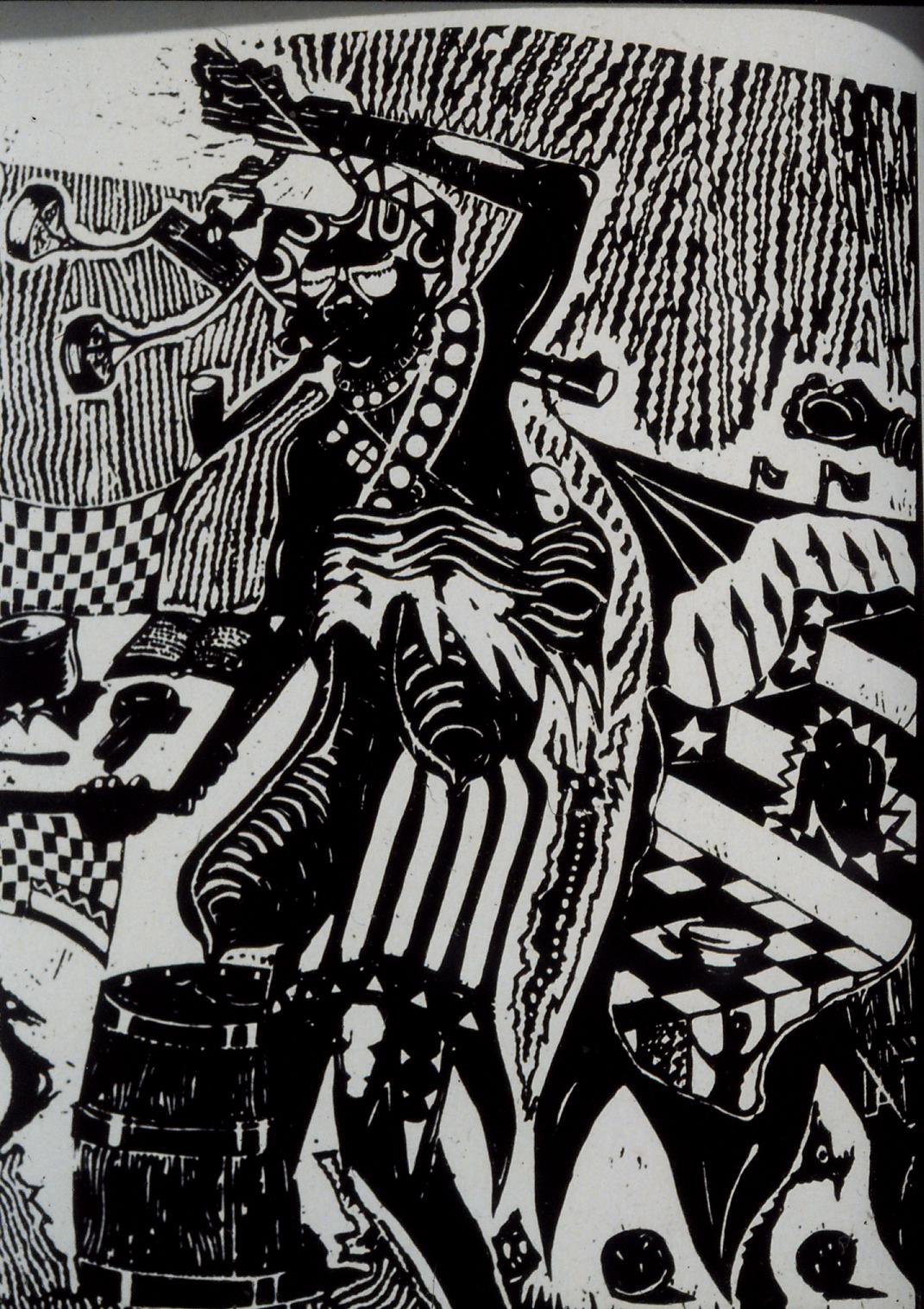 Billy Mandindi. Prophecy II, 1985. Linoleum relief print.
