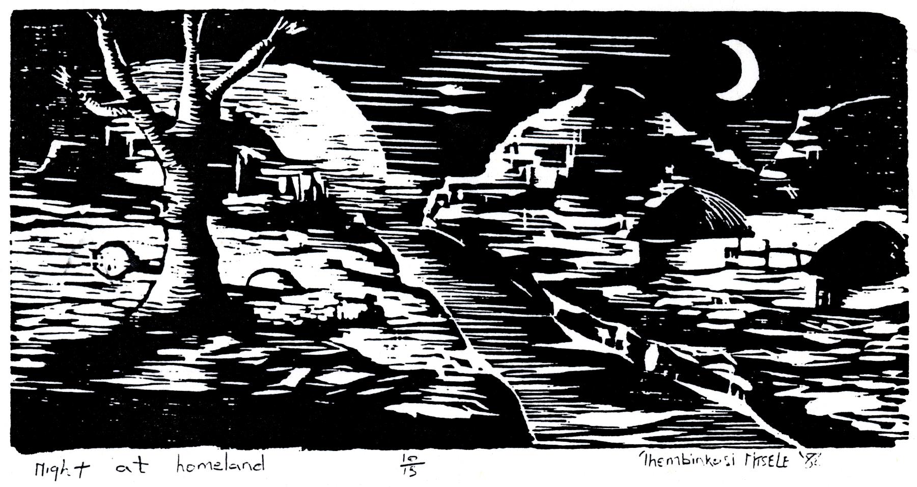 Thembinkosi Ntsele. Night at Homeland, 1988. Linocut