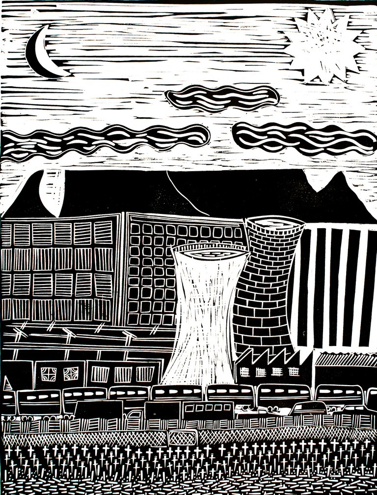 Billy Mandindi. City with Table Mountain, Linocut. 63.6 x 48.4 cm