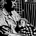 David Hlongwane. Pain in Detention, 1987. Linocut
