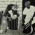 Lionel Davis. The Fat of the Land, 1981. Linocut on paper, 24 x 33 cm