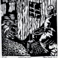Thabo Magobiyane. Washing Day, 1989. Linocut,