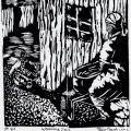 Thabo Magobiyane. Washing Day, 1989. Linocut,