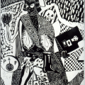 Billy Mandindi. Prophecy I, 1985. Lino relief print.