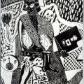 Billy Mandindi. Prophecy I, 1985. Lino relief print.