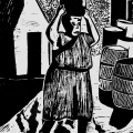 David Hlongwane. Farm Worker, 1986. Linocut