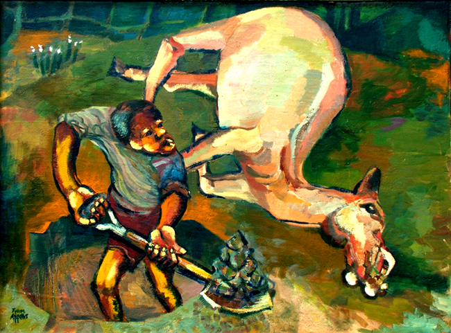 Tyrone Appollis, Burying a White Horse, c. 1982-84. Oil on board, 76 x 56 cm. Private collection, Cape Town. (Photo: W Nelson)