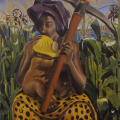 Billy Mandindi, Madonna of the Mines. Acrylic on canvas