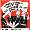 CAP Poster - CAP for RAWU (Retail and Allied Workers' Union), 1984. Silkscreen poster (Source: The Posterbook Collective of the South African History Archive. 1991. Images of Defiance: South African Resistance Posters of the 1980. Braamfontein: Ravan Press)