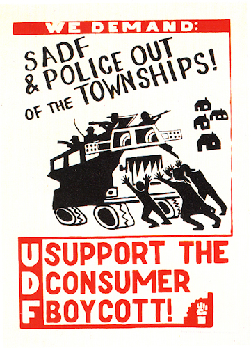 CAP Poster - UDF at CAP, 1985. Silkscreen poster (Source: The Posterbook Collective of the South African History Archive. 1991. Images of Defiance: South African Resistance Posters of the 1980. Braamfontein: Ravan Press)
