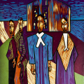 Nigel Martin, Religious Blues, 1991. Woodcut, 40 x 30.4 cm