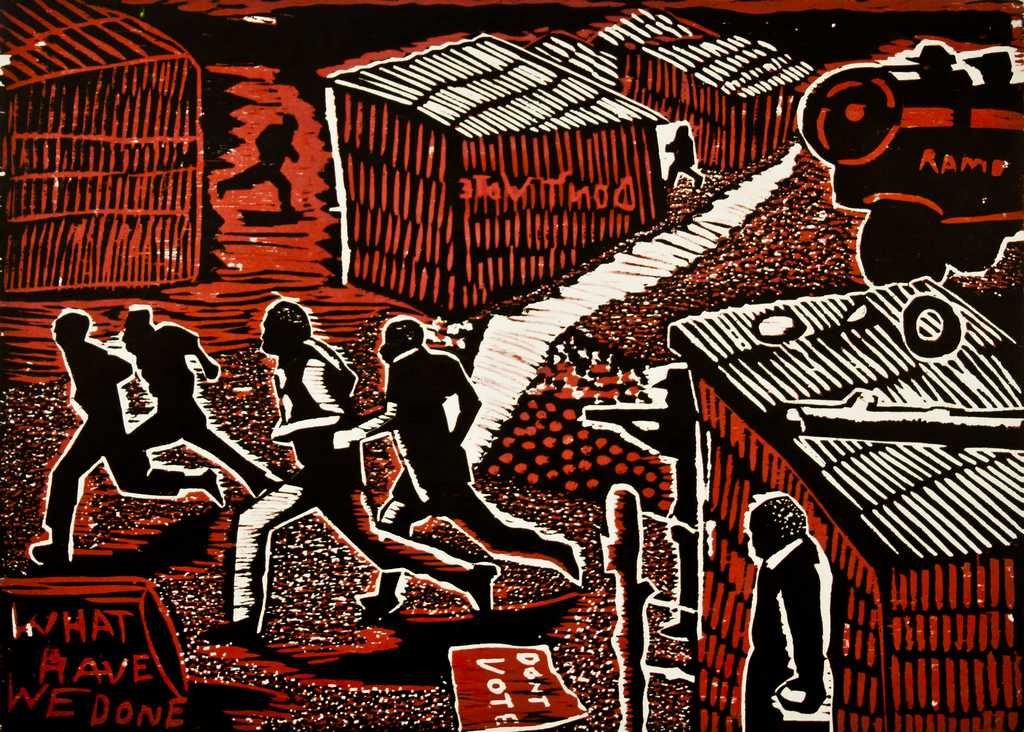 David Hlongwane, Why?, 1989. Linocut, 28.9 x 40 cm