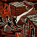 David Hlongwane, Why?, 1989. Linocut, 28.9 x 40 cm