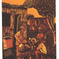 Xolani Somana, Untitled,1988. Colour reduction linocut, 444 x 272 mm. Centre for African Studies, University of Cape Town.