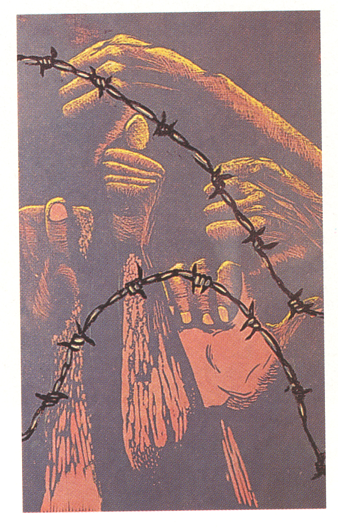 Sipho Hlati, If I Can Loose This Heaven, 1988. Colour reduction linocut, 444 x 272 mm. Centre for African Studies, University of Cape Town.