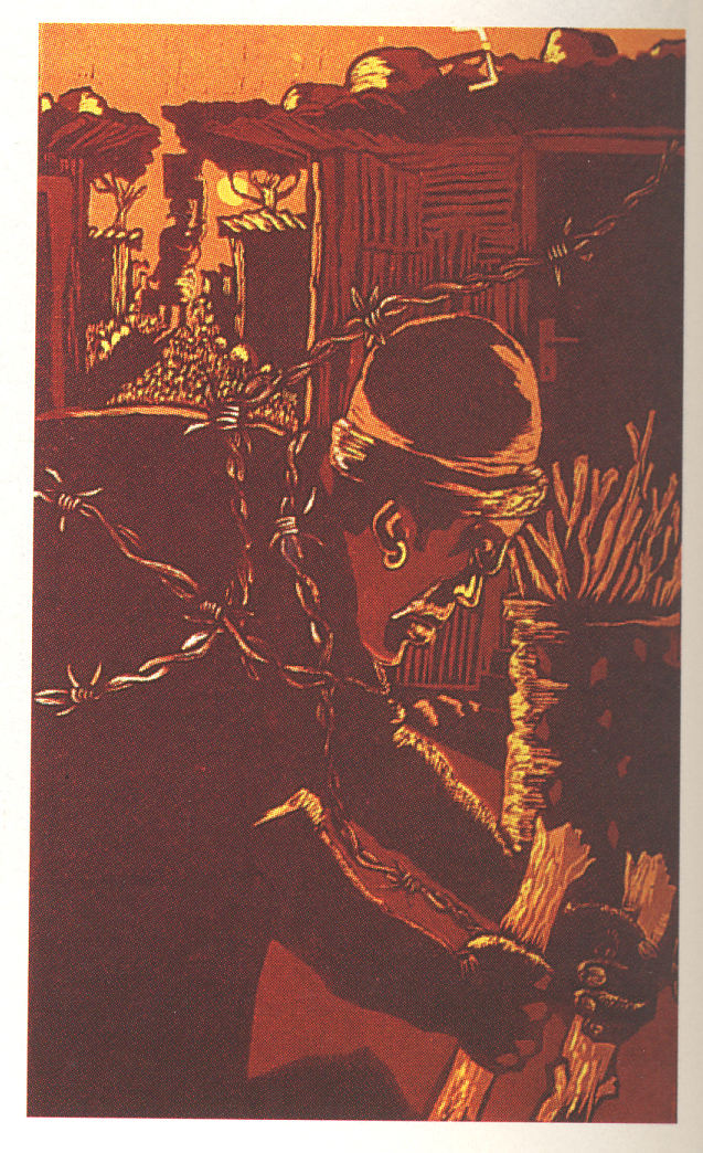 Tom Sefako, Winter in the Squatters, 1988. Colour reduction linocut, 444 x 272 mm. Centre for African Studies, University of Cape Town.