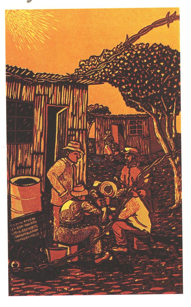 Xolani Somana, Untitled,1988. Colour reduction linocut, 444 x 272 mm. Centre for African Studies, University of Cape Town.