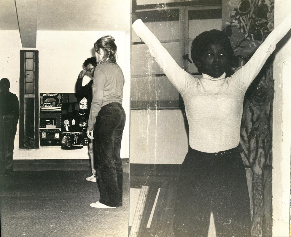 (left) Derek Joubert (drama teacher), Debby and (right) Gabiba Munchie (drama students)