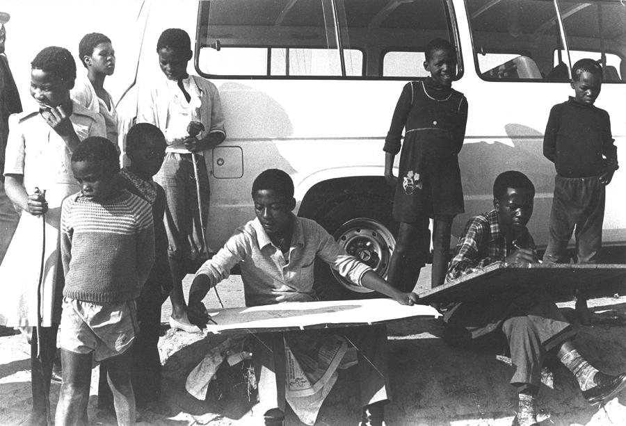 CAP art student and Vuyile Voyiya, 1984. CAP, Chapel Street, Woodstock