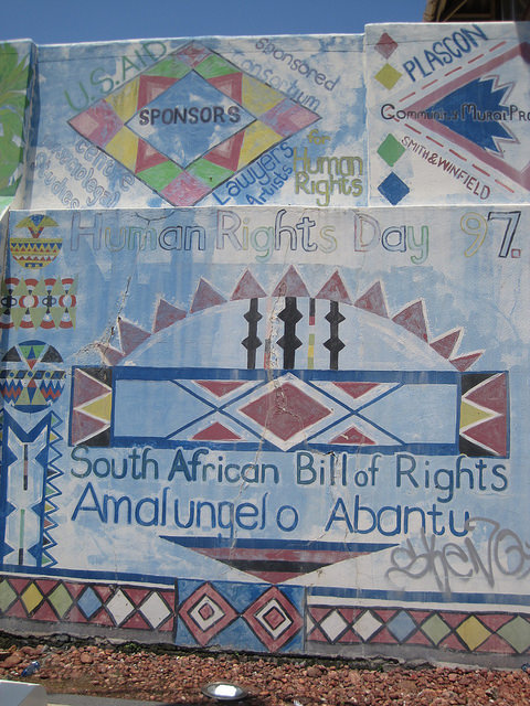 Detail from South African Bill of Rights Mural, 1997. Durban, South Africa. (Photo: Lee Bob Black, 2010)