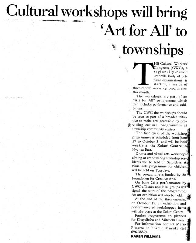 Karen Williams, Cultural workshop will bring 'Art for All' to townships
