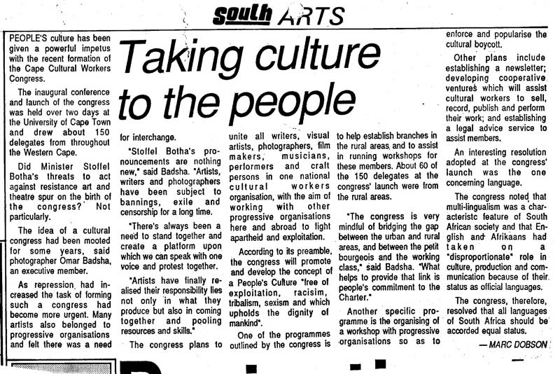 Marc Dobson, Taking culture to the people, South