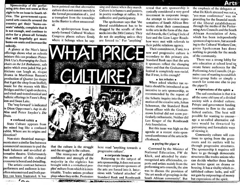 What price culture?