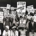 Workers displaying placards at rally, Curries Fountain, before 'Defend Natal' march, 7 July 1990 (photo - Jeeva Rajgopaul)