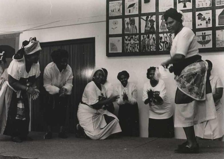 Thokoza womens hostel group at International Womens Day celebrations Diakonia, Johannesburg , 9 March 1991 (photo - Rafs Mayet)