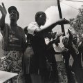 Die Bafanas, Pietermaritzburg cultural group ,perform from a truck outside Jan Smuts cricket stadium demonstrating against rebel English tour 1990 (photo - Rafs Mayet)