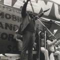 Zondi and fellow Sarmcol workers, MAWU rally, 1986 (photo - courtesy Ari Sitas)