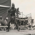 Ntunzi, imbongi, May Day rally, Curries Fountain, 1986 (photo - Jeeva Rajgopaul)