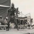Ntunzi, imbongi, May Day rally, Curries Fountain, 1986 (photo - Jeeva Rajgopaul)
