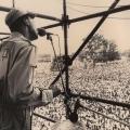 Mzwakhe Mbuli ,Mandela welcome rally, Kings Park Stadium ,Durban, 1990 (photo - Paul Weinberg)