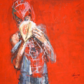 Spider kid on glue, 2012. Acrylic on canvas, 150 x 76 cm